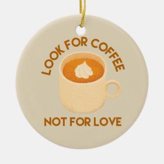 Ornement Rond En Céramique Café au-dessus de l'amour