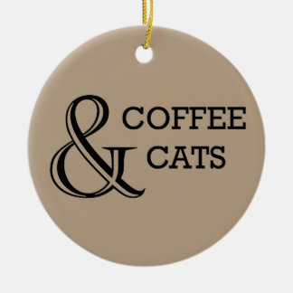 Ornement Rond En Céramique Café et chats avec la photo faite sur commande