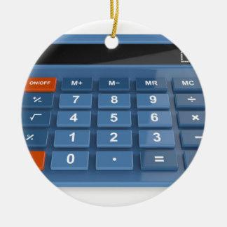 Ornement Rond En Céramique Calculatrice bleue