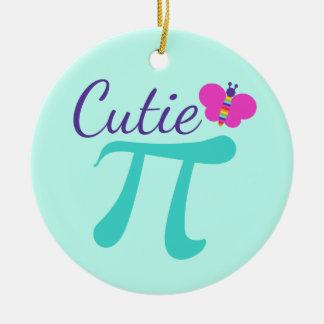 Ornement Rond En Céramique Calembour de maths de symbole de Cutie pi
