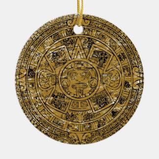 Ornement Rond En Céramique Calendrier en pierre aztèque âgé de Sun