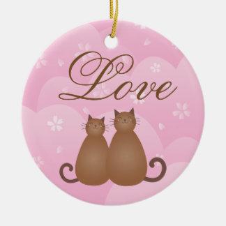 Ornement Rond En Céramique Calligraphie florale d'amour de couples de chat de
