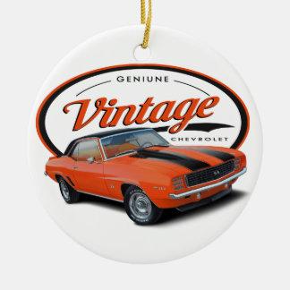 Ornement Rond En Céramique Camaro orange vintage