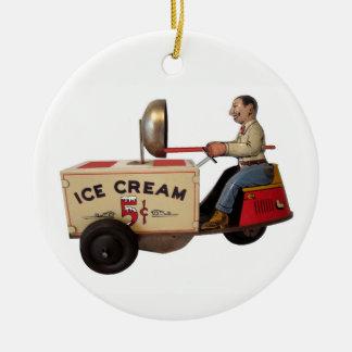 Ornement Rond En Céramique Camion de crème glacée