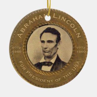 Ornement Rond En Céramique Campagne de cru d'Abraham Lincoln