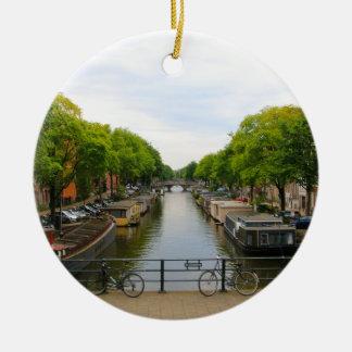 Ornement Rond En Céramique Canal, ponts, vélos, bateaux, Amsterdam, Hollande