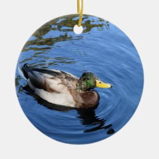 Ornement Rond En Céramique Canard conservateur de Mallard de l'eau du Central