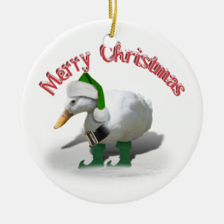 Ornement Rond En Céramique Canard d'Elf de Noël - l'aide de Père Noël