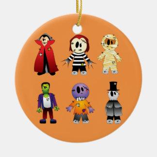 Ornement Rond En Céramique Caractères mignons de costume de Halloween