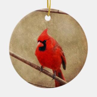 Ornement Rond En Céramique Cardinal