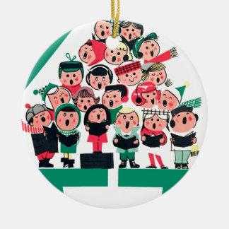 Ornement Rond En Céramique Carolers de Noël