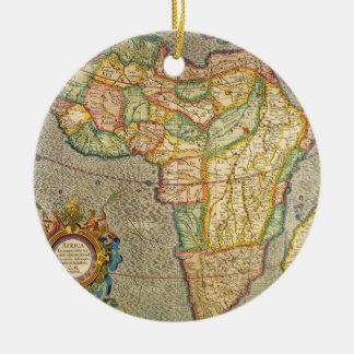 Ornement Rond En Céramique Carte antique de Mercator de Vieux Monde de