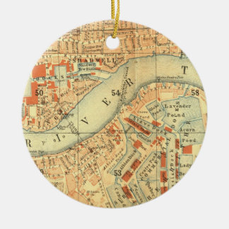 Ornement Rond En Céramique Carte de cru de Londres la Tamise