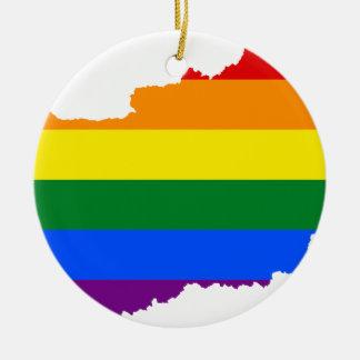 Ornement Rond En Céramique Carte de drapeau de la Hongrie LGBT
