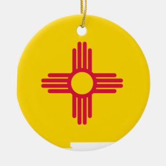 Ornement Rond En Céramique Carte de drapeau du Nouveau Mexique
