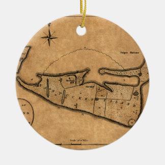 Ornement Rond En Céramique Carte de Nantucket 1782