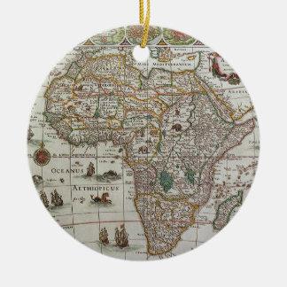 Ornement Rond En Céramique Carte de Vieux Monde antique de l'Afrique, C. 1635