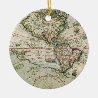 Ornement Rond En Céramique Carte de Vieux Monde antique des Amériques, 1597