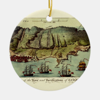 Ornement Rond En Céramique Carte du Gibraltar 1765