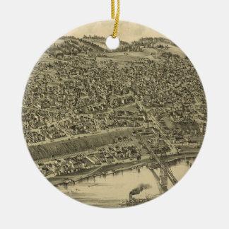 Ornement Rond En Céramique Carte imagée vintage de Rochester PA (1900)