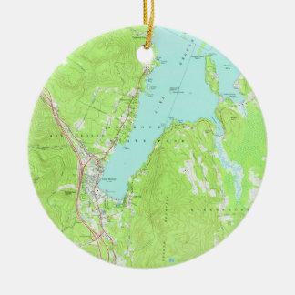 Ornement Rond En Céramique Carte vintage de lac George New York (1966) 2