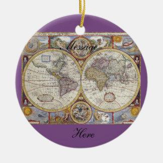 Ornement Rond En Céramique Carte vintage Thunder_Cove de voyageur du monde