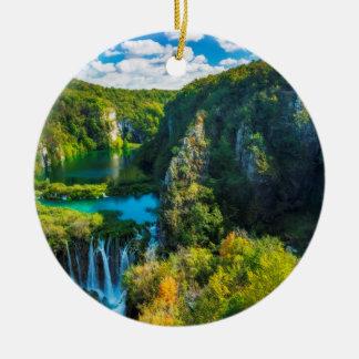 Ornement Rond En Céramique Cascade élégante pittoresque, Croatie