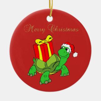 Ornement Rond En Céramique Casquette adorable de Père Noël de tortue, Joyeux