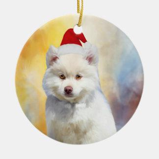 Ornement Rond En Céramique Casquette américain de Père Noël de Noël de chien