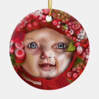 Ornement Rond En Céramique Casquette de Noël