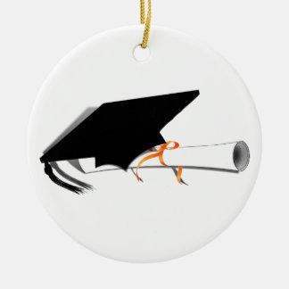 Ornement Rond En Céramique Casquette d'obtention du diplôme avec le diplôme