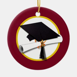 Ornement Rond En Céramique Casquette d'obtention du diplôme et diplôme -