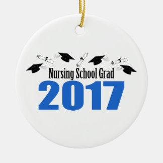 Ornement Rond En Céramique Casquettes et diplômes du diplômé 2017 d'école