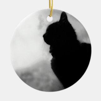 Ornement Rond En Céramique Cat a mangé Night Feline Animal la casquette Cat