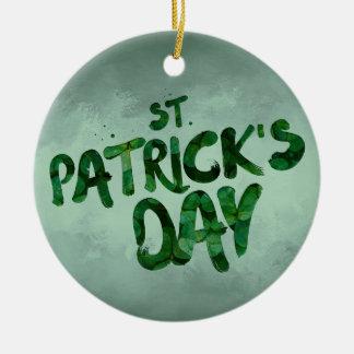 Ornement Rond En Céramique Celtic irlandais de trèfle de vert du jour de St