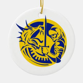 Ornement Rond En Céramique Cercle de combat de dragon de chevalier rétro