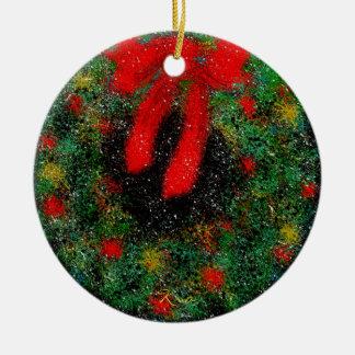 Ornement Rond En Céramique Cercle en céramique d'ornement de Noël (guirlande)