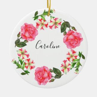 Ornement Rond En Céramique Cercle rose de guirlande de fleurs d'aquarelle