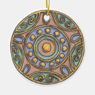 Ornement Rond En Céramique Cercles (en pastel)