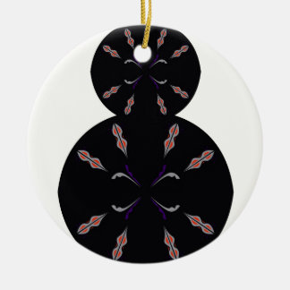 Ornement Rond En Céramique Cercles noirs sur la vanille. Conception