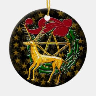 Ornement Rond En Céramique Cerfs communs, guirlande, et pentagramme d'or - #1
