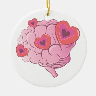 Ornement Rond En Céramique Cerveau d'amour