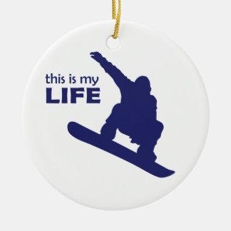 Ornement Rond En Céramique C'est ma vie (le snowboarding)