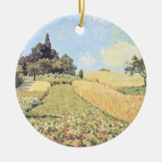 Ornement Rond En Céramique Champ de blé d'Alfred Sisley |