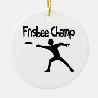 Ornement Rond En Céramique Champion de frisbee