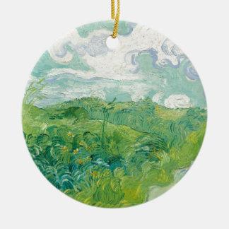 Ornement Rond En Céramique champs de blé verts de Van Gogh