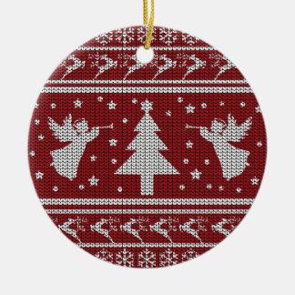 Ornement Rond En Céramique Chandail laid de Noël