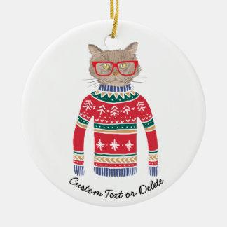 Ornement Rond En Céramique Chandail laid drôle de Noël, amoureux des chats