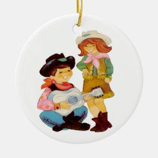 Ornement Rond En Céramique Chanteurs de cowboy et de cow-girl