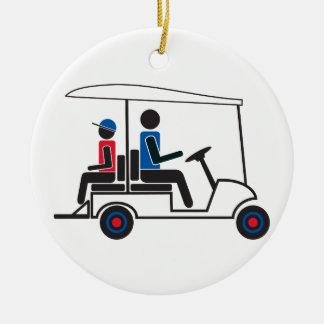 Ornement Rond En Céramique chariot de golf rouge, blanc et bleu de famille de